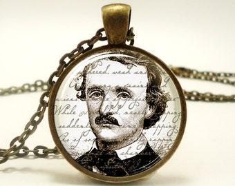 Edgar Allan Poe Necklace, Gothic Jewelry, Bronze (0378B1IN)