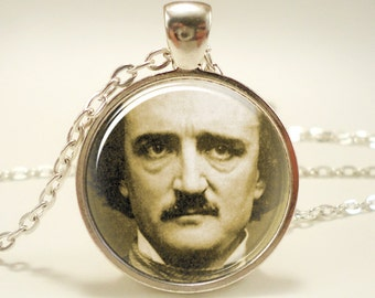 Edgar Allan Poe Necklace, Gothic Jewelry, Silver Plate (0379S1IN)