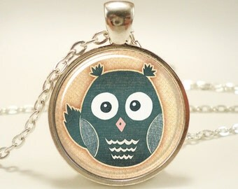 Cute Owl Necklace, Woodland Friends Jewelry, Silver Plate (0496S1IN)