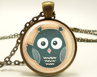 Cute Owl Necklace, Woodland Friends Jewelry, Bronze (0496B1IN)