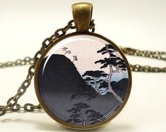 Japanese Art Print Neckalce, Asian Mountains, Art Pendant (0549B1IN)