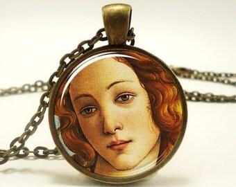 The Birth of Venus Necklace, Botticelli Art Pendant, Roman Goddess Jewelry (0618B1IN)