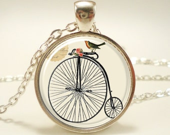 Penny Farthing High Wheel Bicycle Necklace With Bird, Victorian Era Style Jewelry (0579S1IN)
