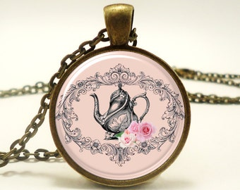 Victorian Style Necklace, Pink Tea Pot Pendant (0581B1IN)