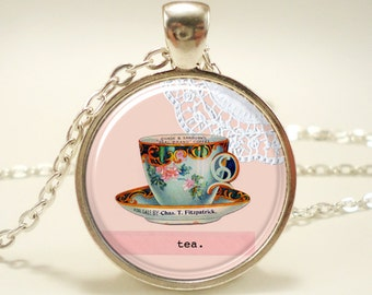 Tea Cup Necklace, Victorian Style Jewelry (0583S1IN)