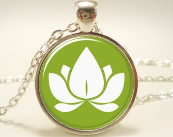 Lotus Blossom Necklace, Zen Yoga Jewelry, Buddhist Charm (0699S1IN)