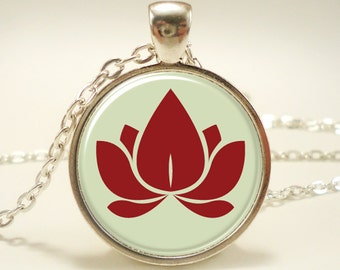 Lotus Blossom Necklace, Zen Yoga Jewelry, Buddhist Charm (0696S1IN)