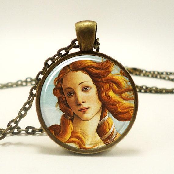 The Birth of Venus Necklace, Botticelli Art Pendant, Roman Goddess Jewelry (0619B1IN)