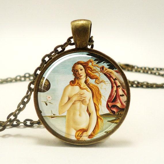 The Birth of Venus Necklace, Botticelli Art Pendant, Roman Goddess Jewelry (0621B1IN)