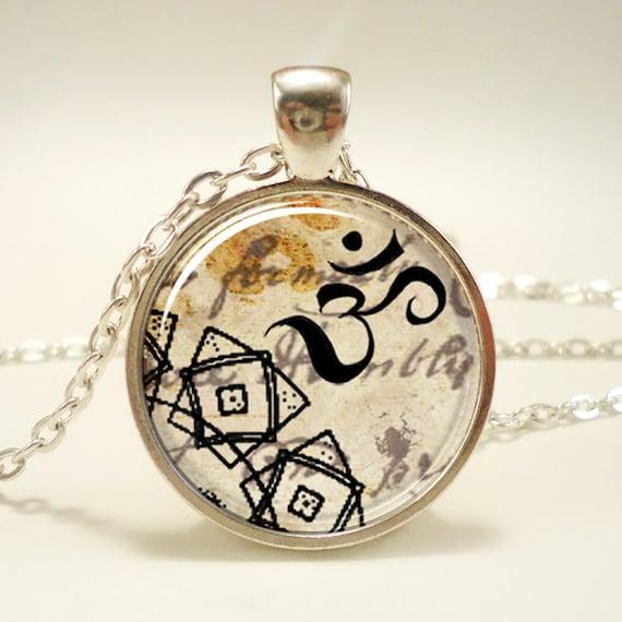 Zen Necklace, Henna Design Om Yoga Jewelry, Om Charm (0634S1IN)