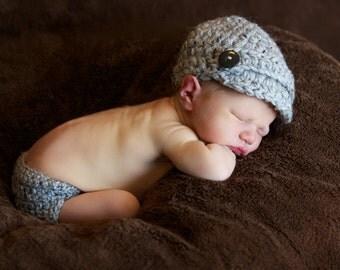 Marble Grey Newsboy Beanie & Diaper Cover Set