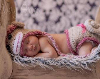Baby Girl Sock Monkey Hat Photo Prop
