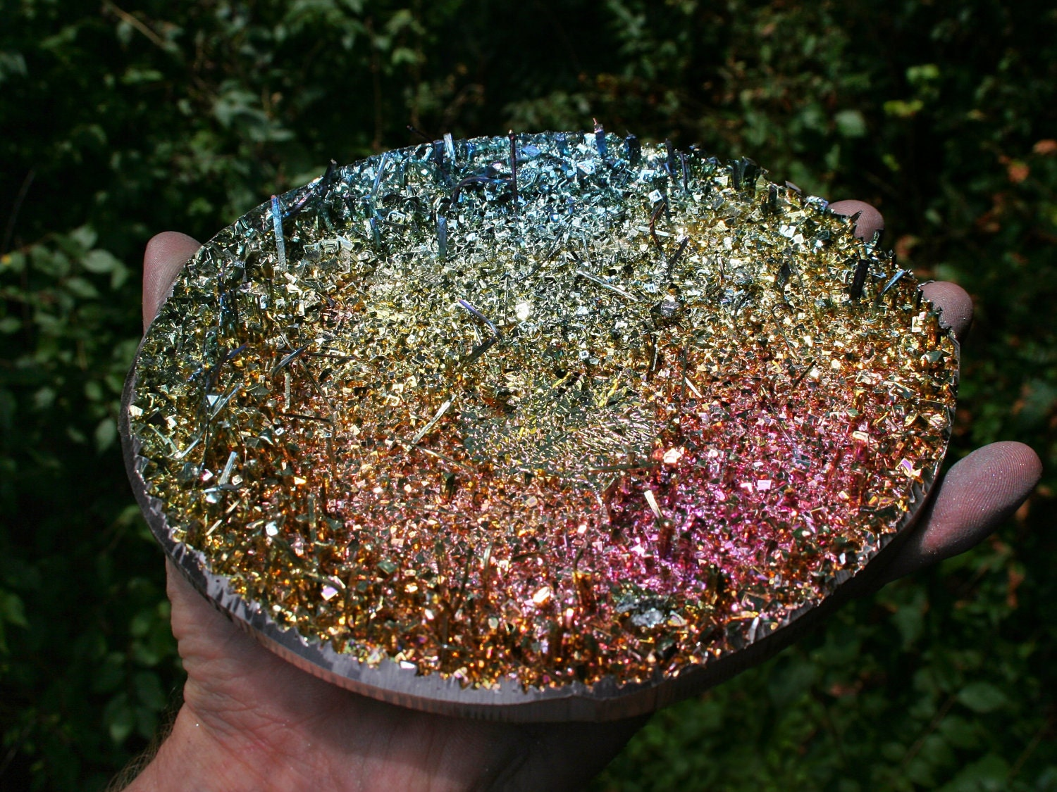 Crystal Clock Face Iridescent Bismuth Crystal Cluster