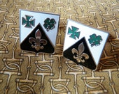 Swank Cufflinks with Fleur de Lis, Shamrock and Maltese Cross