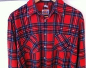 Dickies Red Plaid Flannel Button Down Shirt