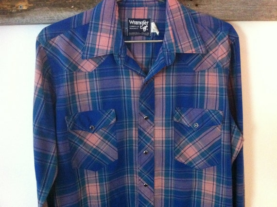 Wrangler Plaid Western Pearl Snap Button Down Shirt