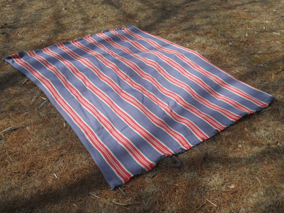 Americana Beach Blanket / 4 1/2'x6' /100% hand woven made in India cotton
