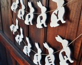 Happy Easter bunny banner wooden white bunnies spring garland vintage rustic home decor    Ready to ship