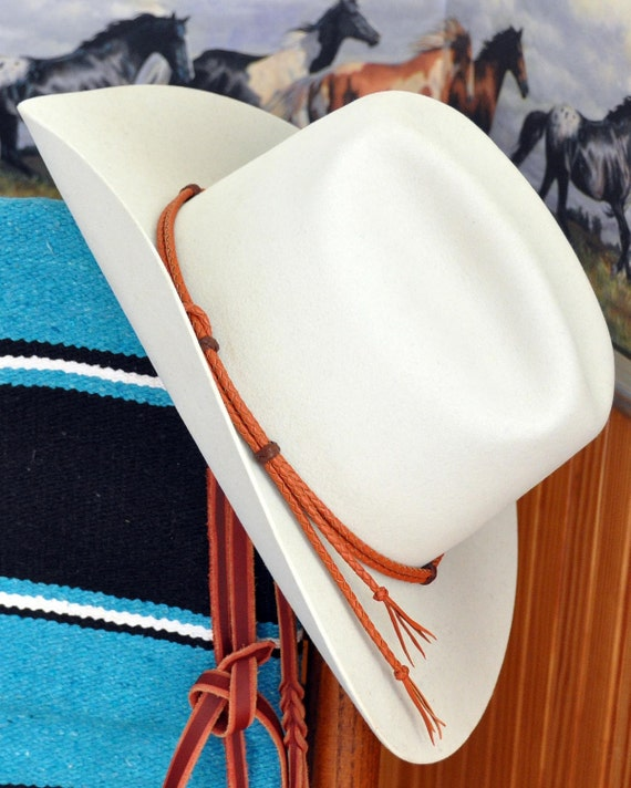 Western Cowboy Buckaroo Kangaroo Leather Braid Hat Band Saddle Tan & Brandy ~ Hatband