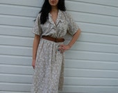 RESERVED Vintage Tan and White Shirtwaist Dress