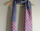 Taupe and cherry pink colors 100% natural (cochineal) dyed Katazome stencil checker board Linen / Wool scarf
