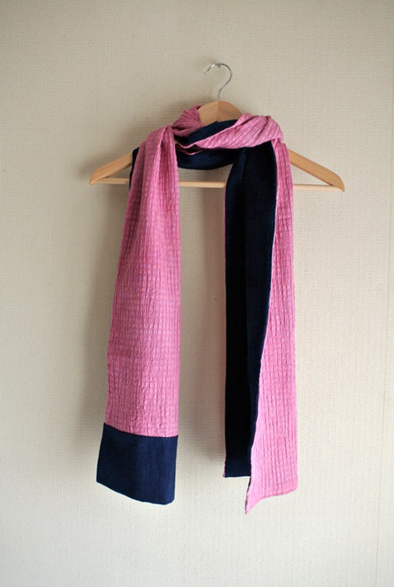 SALE Natural (Indigo/ Cochineal) dyed navy / pink reversible cotton scarf
