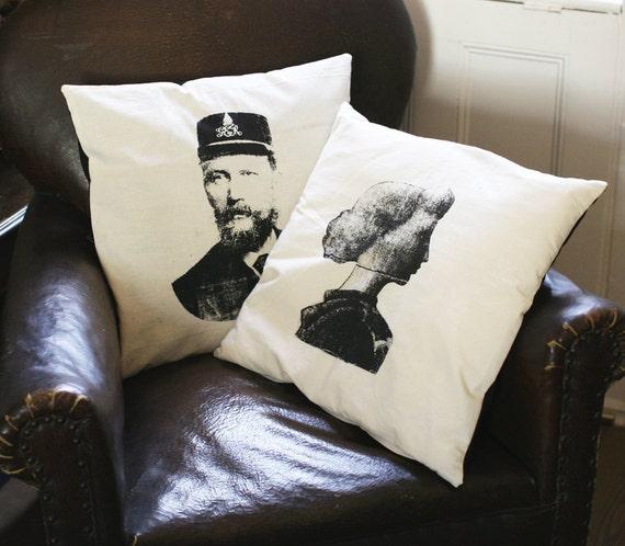 Cushion Pillow Cover - victorian couple portraits screen print - organic fairtrade cotton