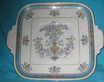 Rare Lenox Blue Tree Antique Square Platter, Great, Lenox Black backstamp, Gold trim