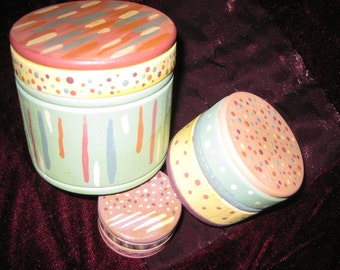 Handpainted Stacking Wooden Boxes: Set of 3 MINT