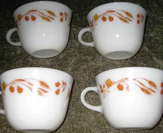 Pyrex Milk Glass Wheat Pattern Set of FOUR cups
