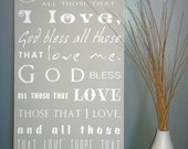 "10x20 ""God Bless All Those That I Love..."" Typography Style Prayer Painting"