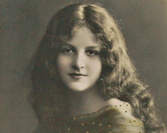 c 20s Beautiful young girl hand colored real photograph postcard