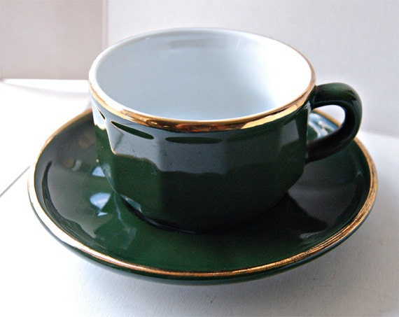 Set Of 4 Apilco French Bistro Coffee Cups Green And Gold
