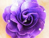 Pure Purple Felt flower brooch with rhinestone embelishment