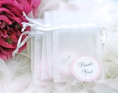 RESERVED FOR ALISON - 60 x sheer white drawstring organza gift bag with personalized tag for wedding favor/ soap/ herb/ tea, 3 x 4 inch