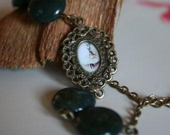 Steampunk Watch Movement Bracelet - Hidden Ballerina Bracelet - Green Agate Bracelet - Envy - Gift for Her