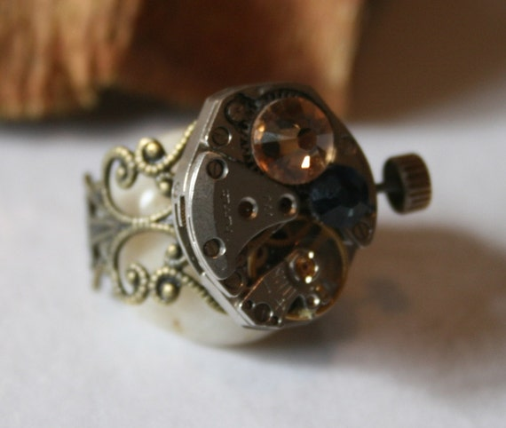 Steampunk Watch Movement Ring - Steam punk Adjustable Ring - The Winder