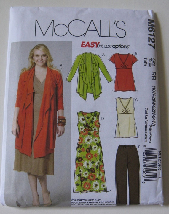McCall's Easy Endless Options Sewing Pattern M6127 Plus Size Women's Jacket Tunic Dress and Pants New