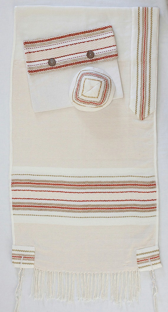 Tallit Daat - Hand woven prayer shawl, matching bag and Kipa.