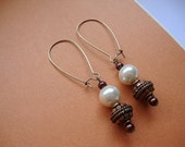 Beaded Dangle Earrings with Glass Pearls and Copper Beads