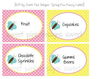 Printable Fancy Labels- Spring Fun Party Collection