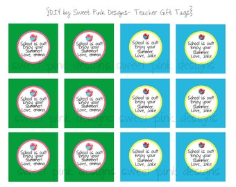 "Printable 2"" Party Circles Teachers Summer Gift Tags"
