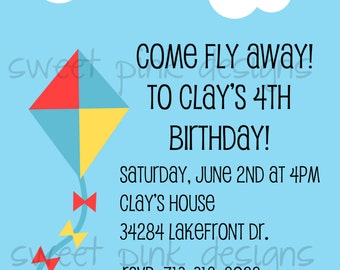 Kite Invitation, Kite Party, Kite Printable, Boy Birthday, DIY