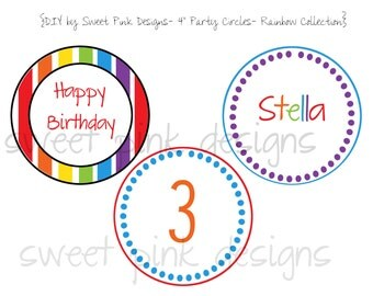 "Printable 4"" Circles- Rainbow Collection"