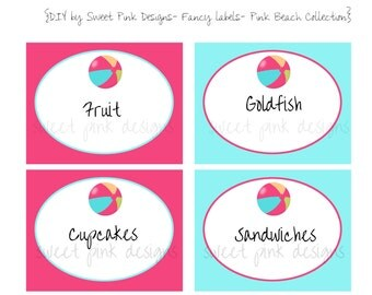 Printable Fancy Labels- Beach Pink Collection