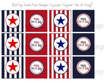 Printable Cupcake Toppers- 4th of July Collection
