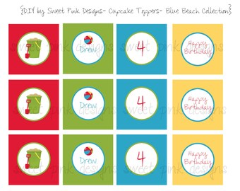 Printable Cupcake Toppers- Blue Beach Collection