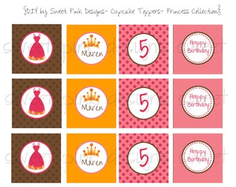 Printable Cupcake Toppers- Princess Party Collection