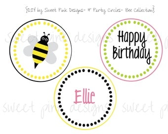 "Printable 4"" Circles- Bee Party Collection"