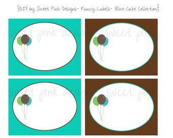 Printable Fancy Labels- Blue Cake Collection